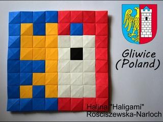 Gliwice coat of arms origami mosaic by Halina Rościszewska-Narloch