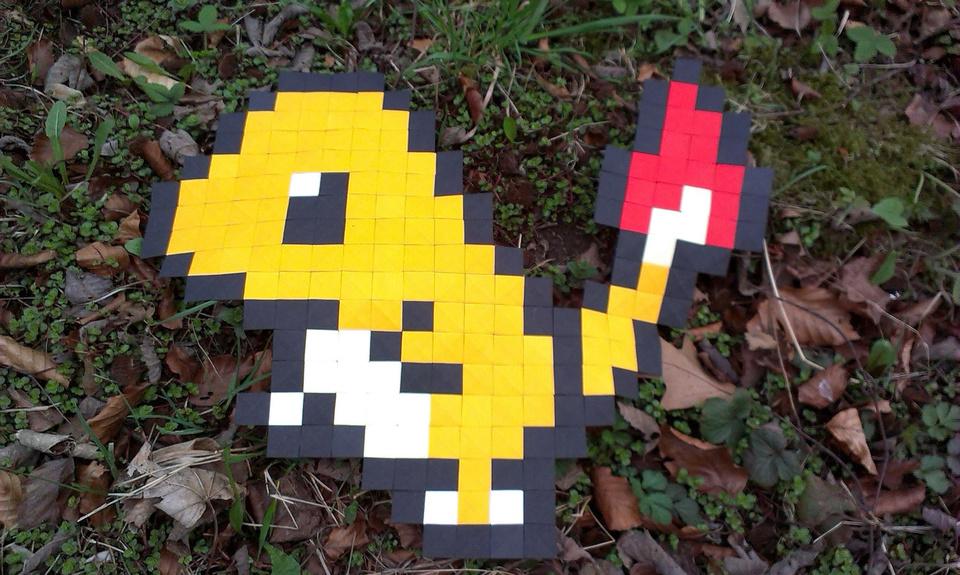 Origami Pokemon Charmander Made With Pixels By Ladislav Kanka