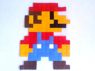 Paper Mario made with origami pixels by Ladislav Kaňka
