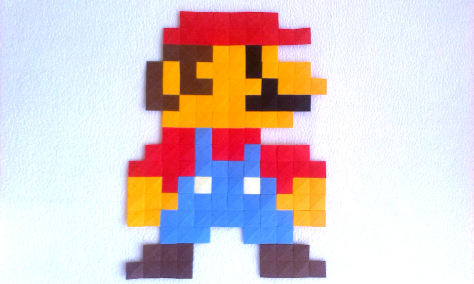 Paper Mario Made With Origami Pixels By Ladislav Kaka