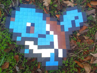 Origami Pokémon Squirtle made with origami pixels by Ladislav Kaňka