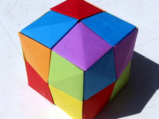 3D Cube made from origami pixels by Lise Bouzat