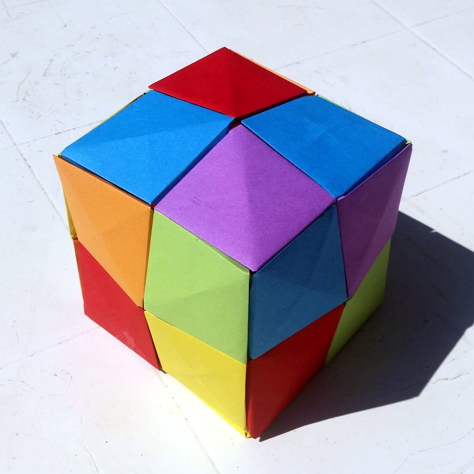 Origami Pixels Are Mostly Use To Make 2D Mosaics But You Can Also 3D Objects With Them Such As This Beautiful Cube Made By Lise Bouzat