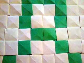 Green Ribbon origami mosaic by Martina Dunne