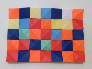 Origami Mosaic in the style of Paul Klee's Farbtafel by Michaela Bertsch