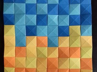 Playa de San Lorenzo origami mosaic by Mollygami