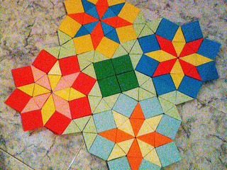 Origami mosaic with 4 Wind Rose Stars by Sonsi Martin