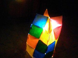 Origami Lampshade made with origami pixels by Sonsi Martin