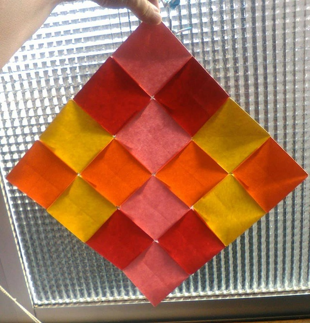 Another view of the origami mosaic.